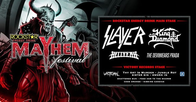 The lineup and logo for Rockstar's Mayhem Festival - COURTESY