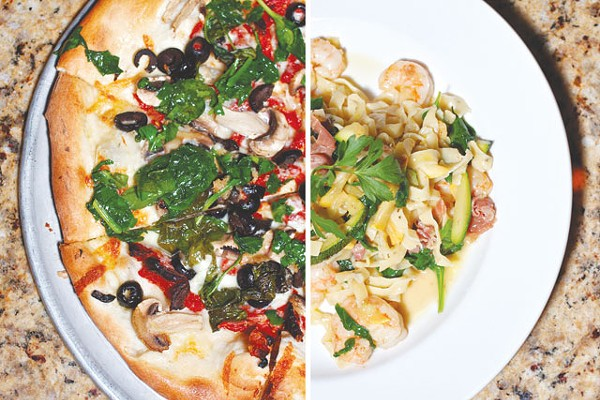 Split decision: Anthony's Pizza and Tagliatelle with shrimp in brown butter sauce - STEVEN GILMORE
