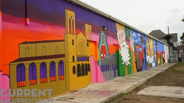 City Center Health Careers charter school worked collaboratively with San Antonio Cultural Arts and other nonprofits to create the neighborhood mural. The state has recommended revoking City Center Health Careers' charter. - PHOTO BY ALBERT SALAZAR