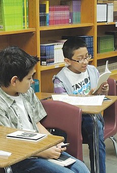 Students at Krueger Middle School, during Gemini-sponsored creative writing classes