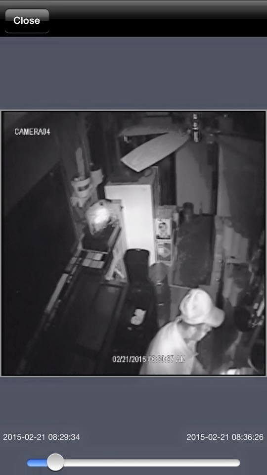 Security footage taken on Saturday, February 21, 2015, of the notorious Brisket Bandit. - AUGIE'S BARBEDWIRE SMOKEHOUSE/FACEBOOK