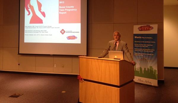 Dr. Thomas Schlenker, director of San Antonio Metro Health, opens Wednesday's data presentation. - PHOTO BY ALEXA GARCIA-DITTA