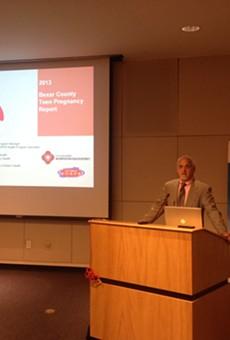 Dr. Thomas Schlenker, director of San Antonio Metro Health, opens Wednesday's data presentation.
