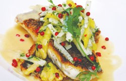 Tender Texas redfish from Merchants Grand Café.