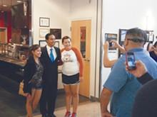 "PHOTO BY JEFFREY WRIGHT - Texas Legislature Representative Joaquín Castro, currently running for U.S. Congress, rallies students at a recent ""Debate Night"" event at Northwest Vista Community College."