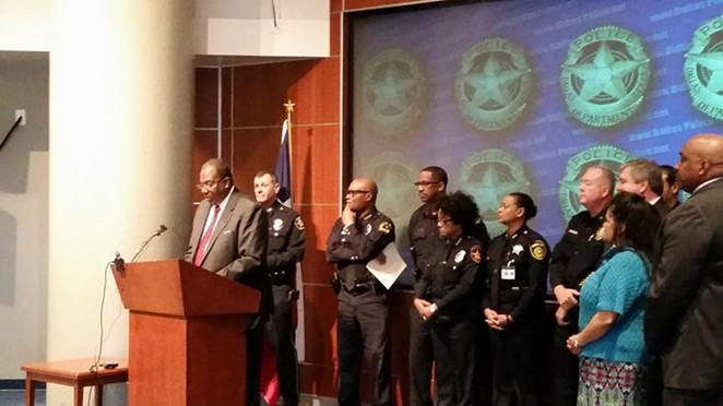 Texas Senator Royce West (D-Dallas) announces details behind a police body-camera bill while flanked by law enforcement officials at Dallas Police Headquarters. - TEXAS SENATOR ROYCE WEST
