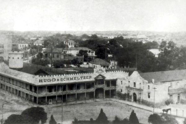 The Alamo circa 1890. With the exception of the chapel, the Alamo was under private ownership until the Daughters of the Republic of Texas was able to secure the property for the state in 1905. Since then the DRT has been the caretakers and managers for the San Antonio shrine. - UTSA INSTITUTE OF TEXAS CULTURES