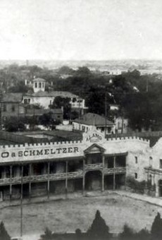 The Alamo circa 1890. With the exception of the chapel, the Alamo was under private ownership until the Daughters of the Republic of Texas was able to secure the property for the state in 1905. Since then the DRT has been the caretakers and managers for the San Antonio shrine.
