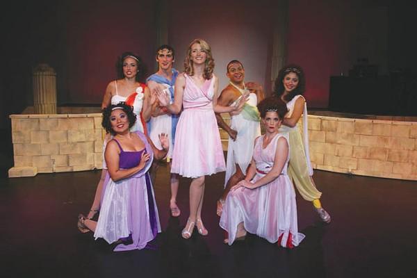 The cast of San Pedro Playhouse's Xanadu.