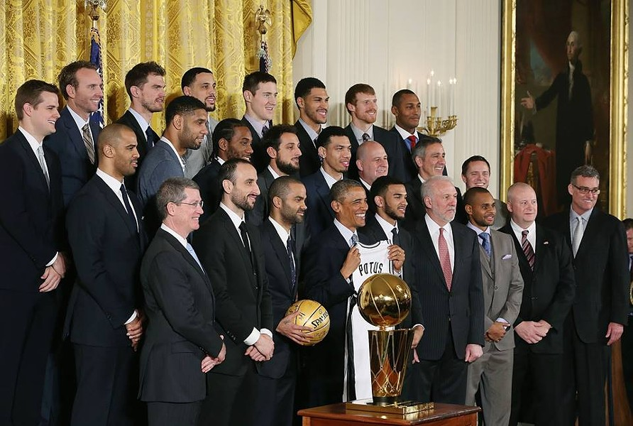 The five-time NBA Champions visited the White House on January 12, 2015. The team presented President Barack Obama with a POTUS Spurs Jersey - COURTESY OF THE SAN ANTONIO SPURS