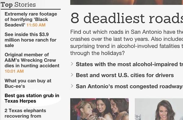 The 'San Antonio Express-News' published an unfortunate headline Monday morning. - MYSA.COM