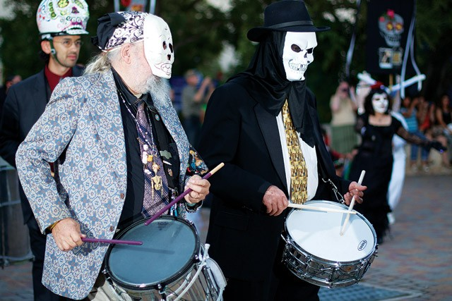 The URBAN-15 drummers at the Carnaval de los Muertos on November 2. - STEVEN GILMORE