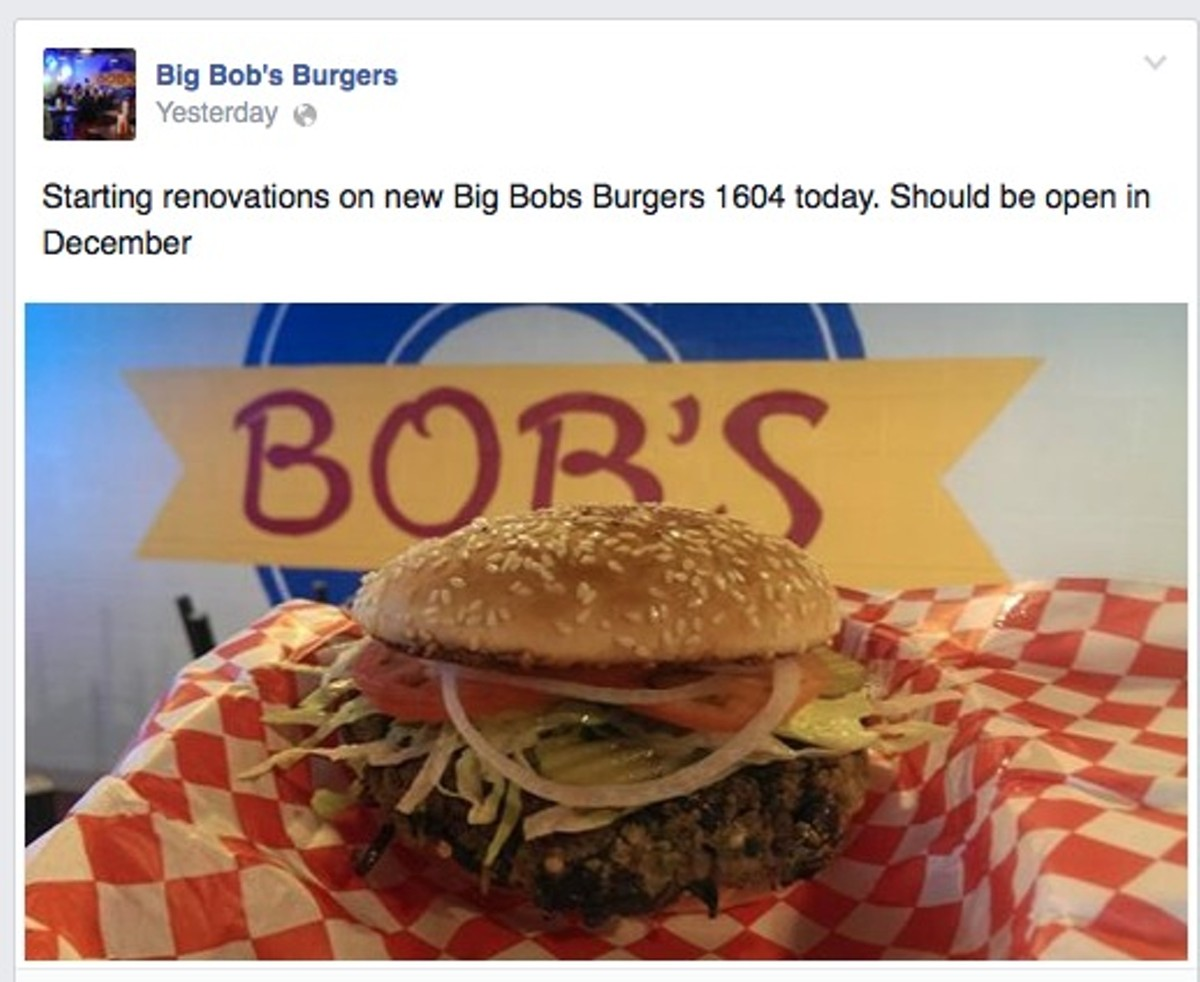 Third big bob 39 s burger location on the way flavor for Big bob s carpet