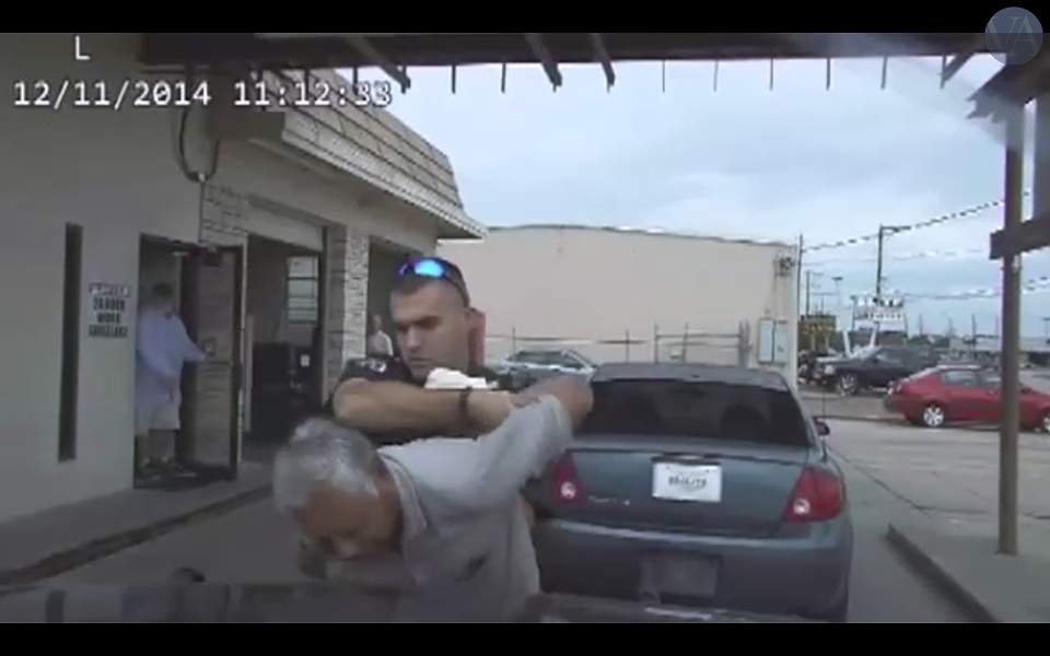 This screen grab shows dash cam footage obtained by the Victoria Advocate that shows former police officer Nathanial Robinson detaining an elderly man moments before Robinson uses a taser on the man. - VICTORIA ADVOCATE