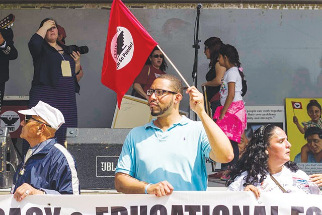 Tommy Calvert at this year's Cesar Chavez March for Justice - RICK CANFIELD
