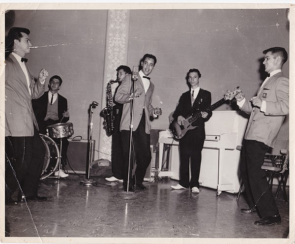 From the '50s to the '70s, The Royal Jesters were one of San Antonio's most requested soul outfits. Here's the group rehearsing at Municipal Auditorium (left to right: Oscar Lawson, Louie Escalante, Henry Hernandez, Dimas Garza). - COURTESY
