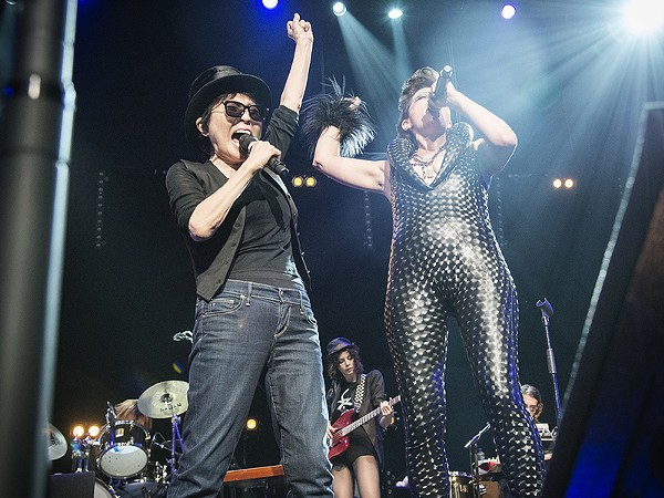 Peaches with Yoko Ono at London's Meltdown Festival in 2013 - COURTESY