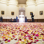 Activists blanket the Texas Capitol rotunda in rose petals to protest restrictive new voting bills