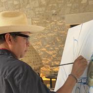 Renowned San Antonio artist Cruz Ortiz paints the official portrait of the 2021 Rey Feo