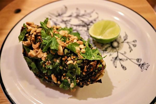 Charred cabbage with salsa macha. - COURTESY OF JOSEPH GOMEZ