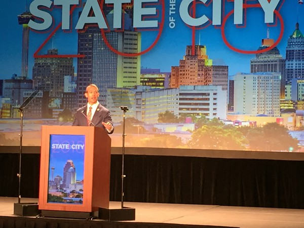 Mayor Ron Nirenberg delivers his State of the City address. - SANFORD NOWLIN