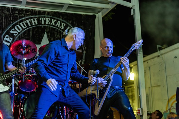 "Scott Womack, Mike Solis and Robert ""Bobdog"" Catlin (left to right) go aggro during South Texas Legion's debut performance. - PHOTO BY JAIME MONZON"