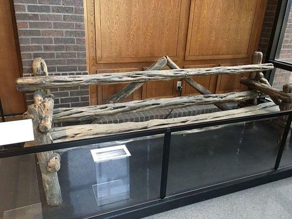"The ""Johnny Loves Vivian"" bench is now safely behind glass at the Witte's  B. Naylor Morton Research and Collections Center. - PHOTO VIA ATLAS OBSCURA"