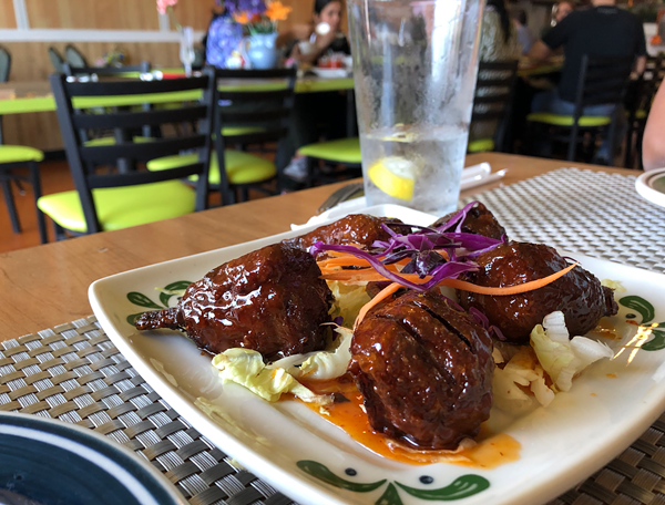 Sweet chili chicken wings from Thai Vegan on Huebner Road. - JESSICA ELIZARRARAS