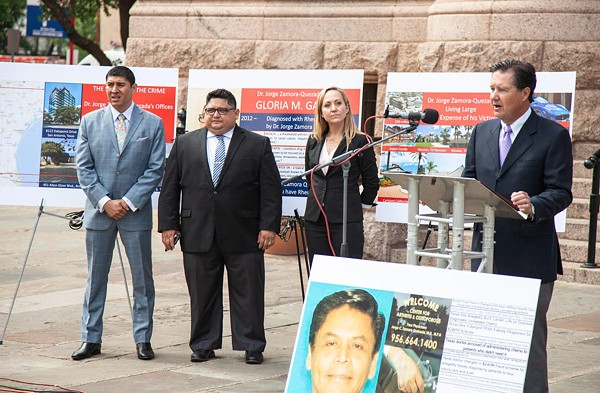 Watts Guerra LLP attorneys hold a press conference announcing lawsuits against South Texas' Dr. Jorge Zamora-Quezada. - COURTESY PHOTO