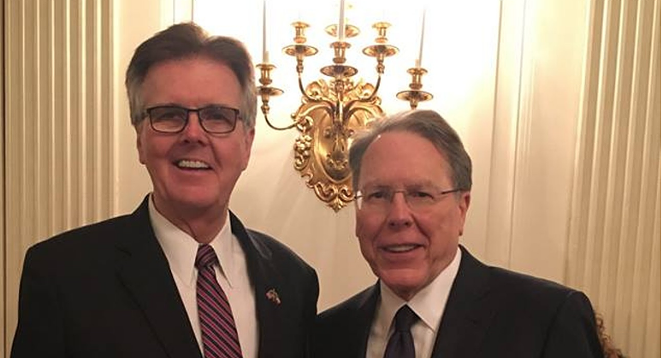 Lt. Gov. Dan Patrick (left) mugs with National Rifle Association CEO Wayne LaPierre. - VIA DAN PATRICK'S FACEBOOK PAGE