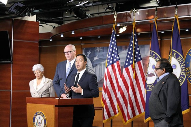 Joaquin Castro and other Democratic lawmakers at yesterday's news conference. - VIA JOAQUIN CASTRO'S FACEBOOK PAGE