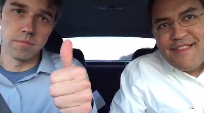 "Beto O'Rourke and Will Hurd put on a friendly face for the lifestream of their ""bipartisan road trip."""