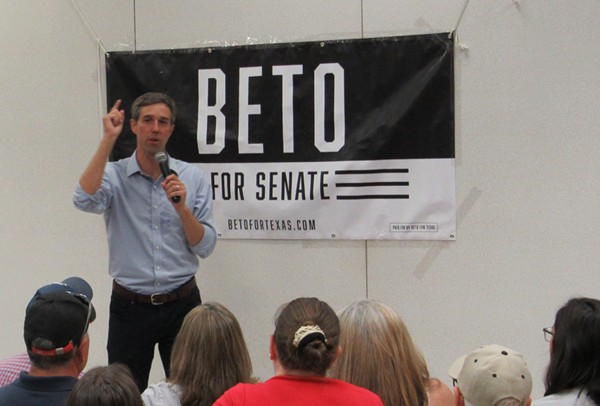 Beto O'Rourke speaks at a South Texas campaign event. - SANFORD NOWLIN
