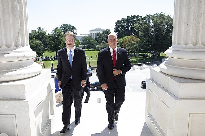 Vice President Mike Pence, an evangelical Christian, escorts Brett Kavanaugh to meet with members of the U.S. Senate. - OFFICE OF THE VICE PRESIDENT