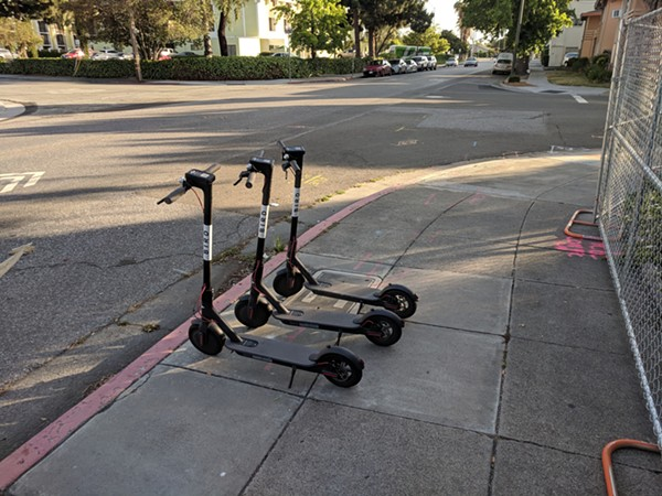 Bird scooters like these soon may be delivered to your front door —clearing some off the sidewalks. - GRENDELKHAN