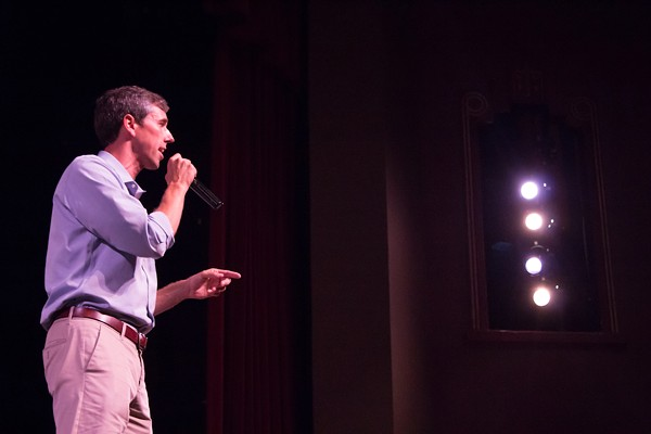 Beto O'Rourke speaking at a San Antonio town hall on education. - JULIAN P. LEDEZMA