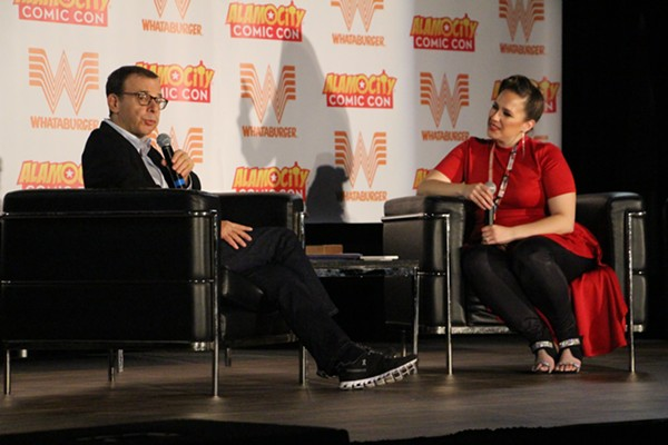 Comedian Rick Moranis with moderator Renée Hinojosa Valdez at Alamo City Comic Con on Saturday - KELLY MERKA NELSON
