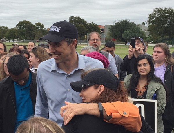 Beto O'Rourke snaps selfies during a recent campaign stop in San Antonio. - SANFORD NOWLIN