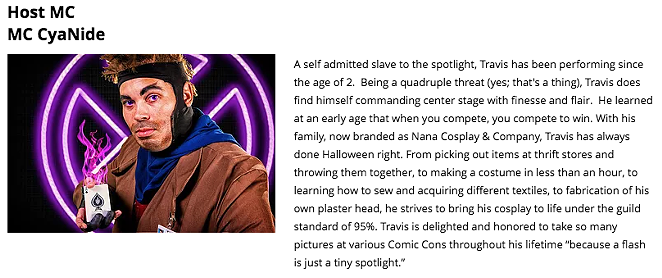 Bio for Travis Lara, also known as MC CyanNide - ALAMOCITYCOMICCON.COM