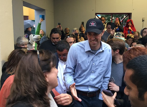 Beto O'Rourke presses the flesh during a recent campaign stop in San Antonio. - SANFORD NOWLIN