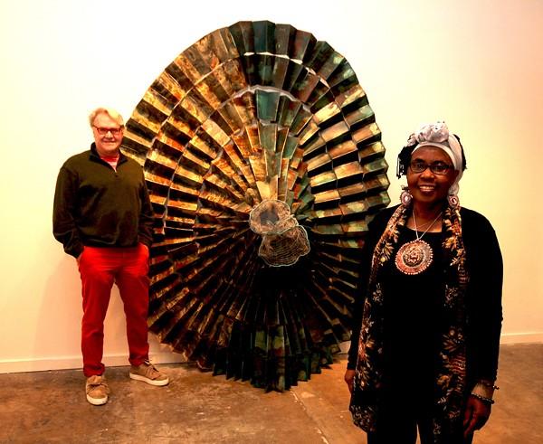 San Antonio artists Gary Sweeney (left) and Naomi Wanjiku at Clamp Light Artist Studios & Gallery - PHOTO COURTESY OF GARY SWEENEY