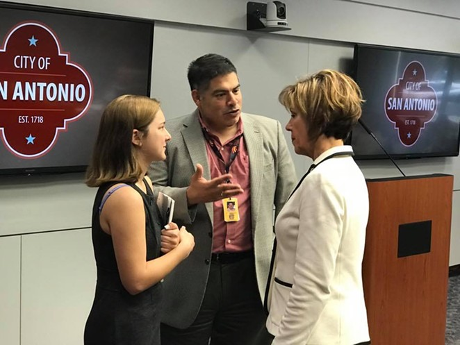 Councilman Manny Pelaez (center) speaks with City Manager Sheryl Sculley (right). - VIA MANNY PELAEZ'S FACEBOOK PAGE