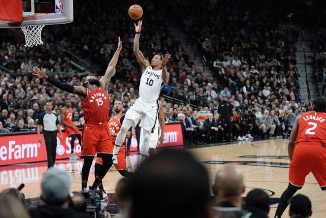 While many eyes were on former Spur Kawhi Leonard, DeMar DeRozan recorded the first triple-double of his career. - TWITTER / SPURS