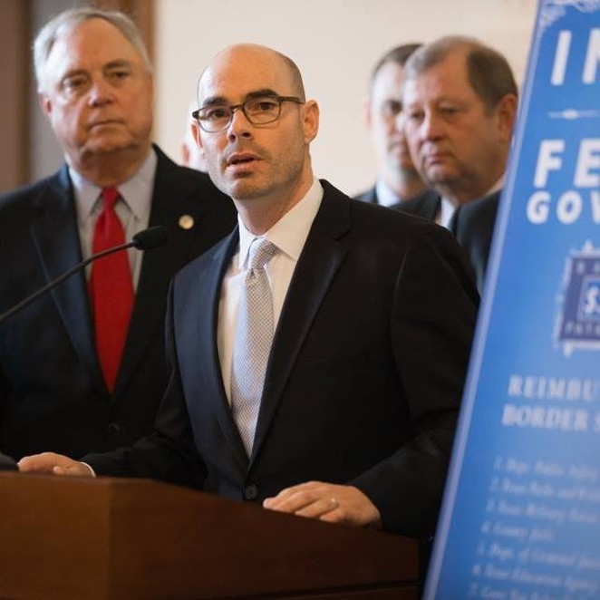Dennis Bonnen (center), the likely successor to former Texas House Speaker Joe Strauss, will be among the Texas lawmakers struggling to find funds for public schools. - FACEBOOK / DENNIS BONNEN