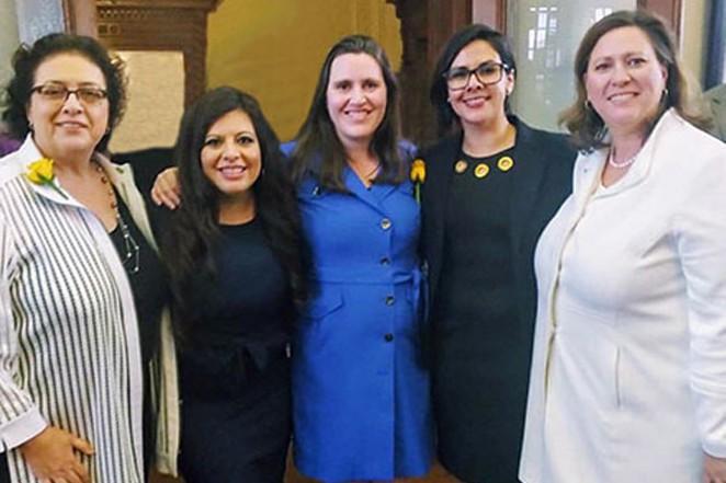 Members of the State Legislature's LGBTQ Caucus: State Representatives Celia Israel, Mary Gonzalez, Erin Zwiener, Jessica Gonzalez and Julie Johnson. - COURTESY OF THE LGBTQ CAUCUS