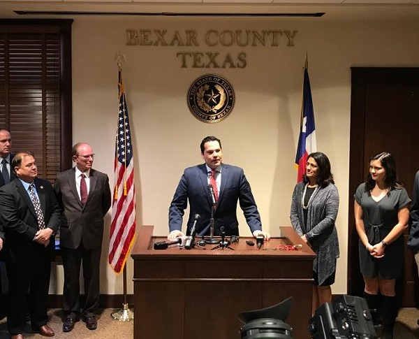 Former state Rep. Justin Rodriguez addresses county officials during his swearing in as Bexar County Commissioner. - VIA JUSTIN RODRIGUEZ'S FACEBOOK PAGE