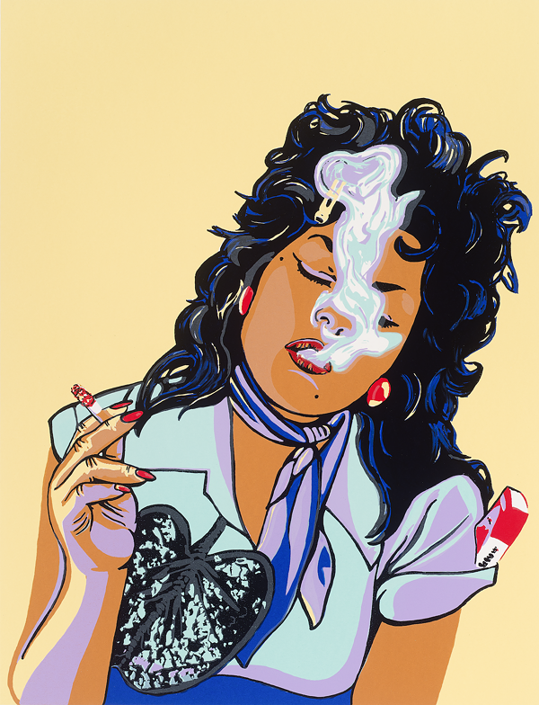 JUDY BACA, ABSOLUTELY CHICANA, 2008. SCREENPRINT. COLLECTION OF THE MCNAY ART MUSEUM, GIFT OF HARRIETT AND RICARDO ROMO.