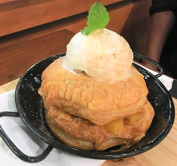 Spoon Eatery offers modern American dishes like the deconstructed peach cobbler. - RON BECHTOL