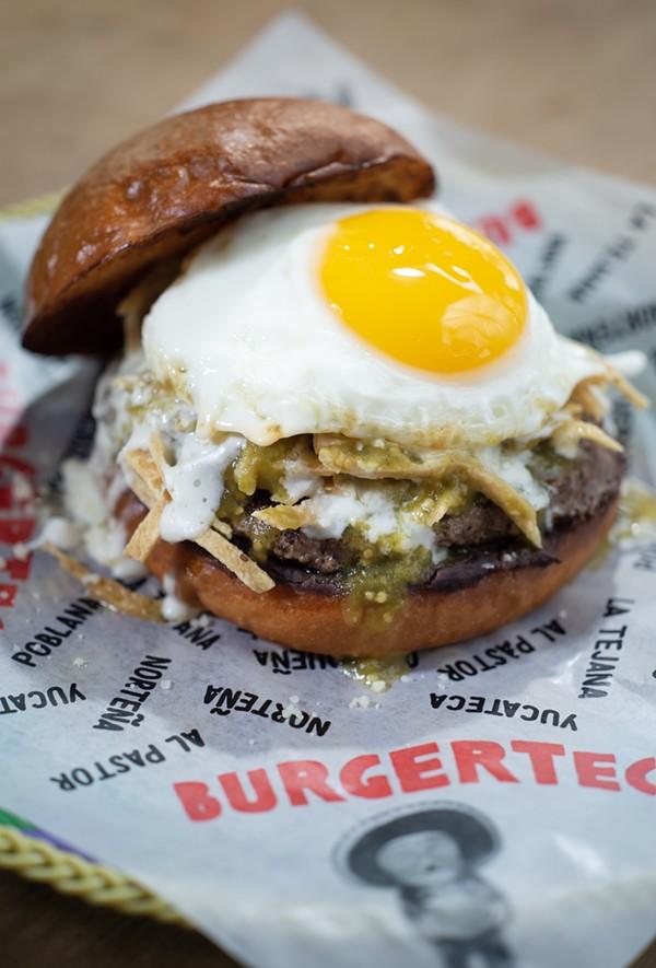 The Chilaquiles Burger from Burgerteca - ERIK GUSTAFSON