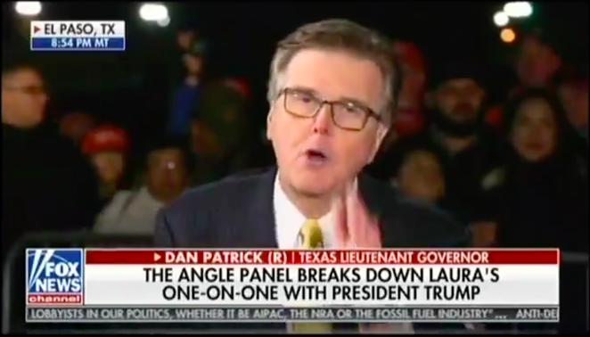 Lt. Gov. Dan Patrick wags a finger on Laura Ingraham's Fox News show. - TWITTER / JASONSCAMPBELL